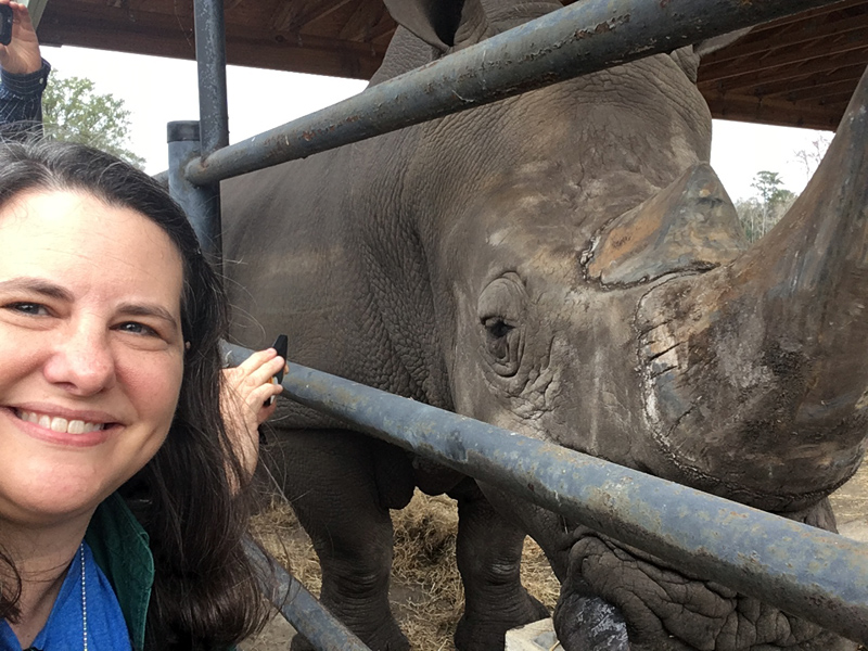 Julie With Rhino At White Oak Conservation Center