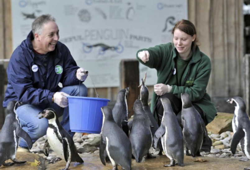 "Hannah Jenkins and her father on ""Bring your parents to work day"" at ZSL London Zoo"