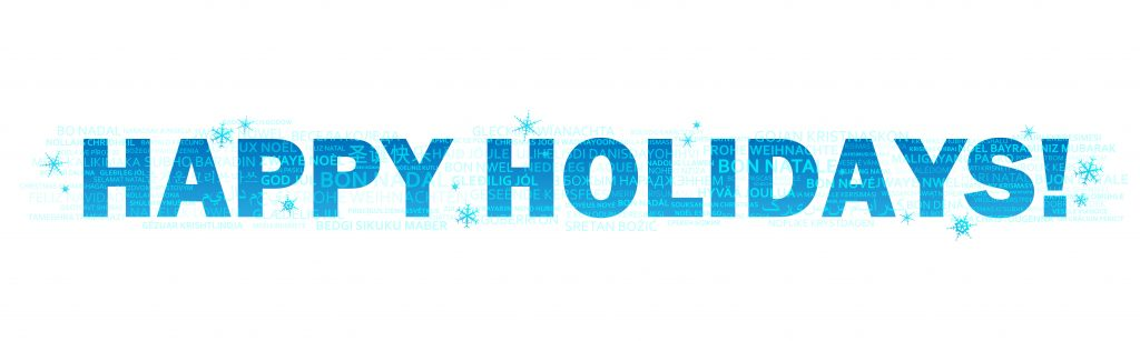 HAPPY HOLIDAYS vector word cloud banner with translations